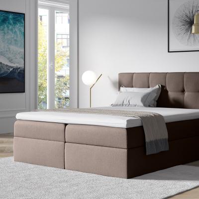 Levné Manželské čalouněné postele: Stylová manželská postel s úložným prostorem Recivio hnědá 160 + TOPPER