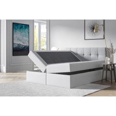 Levné Jednolůžkové čalouněné postele: Čalouněná postel s úložným prostorem Recivio smetanová 140 + TOPPER