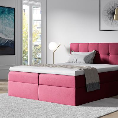 Levné Jednolůžkové čalouněné postele: Čalouněná postel s úložným prostorem Recivio bordó 140 + TOPPER