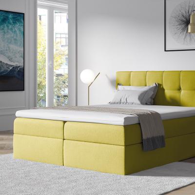 Levné Manželské čalouněné postele: Stylová manželská postel s úložným prostorem Recivio žlutá 180 x 200