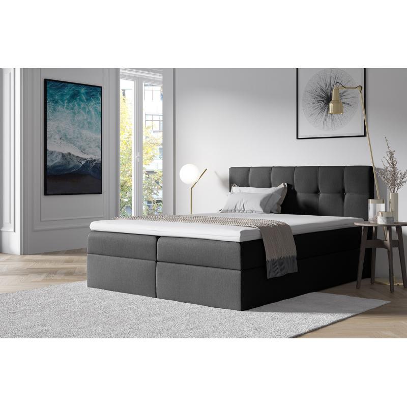 Levné Manželské čalouněné postele: Stylová manželskápostel s úložným prostorem Recivio tmavě šedá 180 x 200