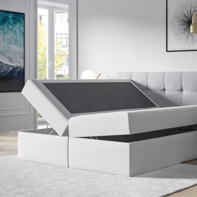 Levné Jednolůžkové čalouněné postele: Čalouněná postel s úložným prostorem Recivio smetanová 140 x 200