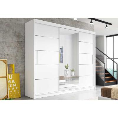 Levné Šatní skříně: Moderní šatní skříň Alivia 250 cm, bílá se zrcadlem
