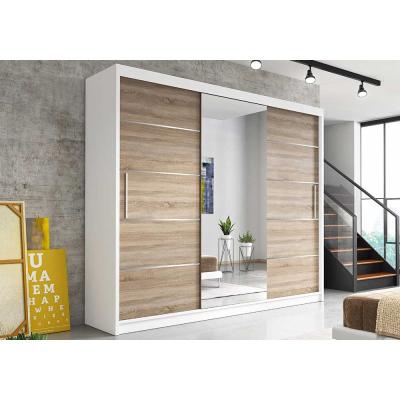 Levné Šatní skříně: Moderní šatní skříň Alivia 250 cm, bílý korpus, dub sonoma se zrcadlem