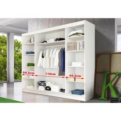 Levné Šatní skříně: Moderní šatní skříň Alivia 250 cm, bílý korpus, černé se zrcadlem