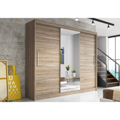 Levné Šatní skříně: Moderní šatní skříň Alivia 250 cm, dub sonoma se zrcadlem
