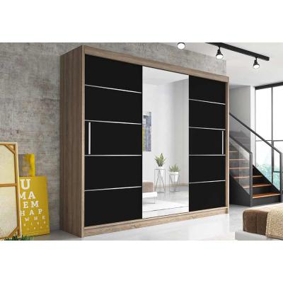 Levné Šatní skříně: Moderní šatní skříň Alivia 250 cm, dub sonoma, černé se zrcadlem