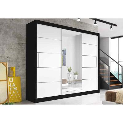 Levné Šatní skříně: Moderní šatní skříň Alivia 250 cm, černá, bílé se zrcadlem