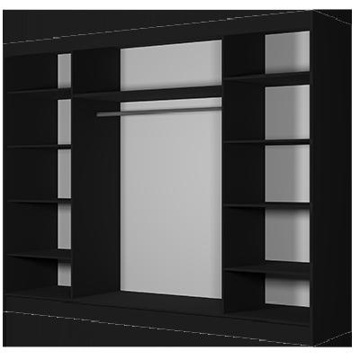 Levné Šatní skříně: Moderní šatní skříň Alivia 250 cm, černá, dub sonoma se zrcadlem