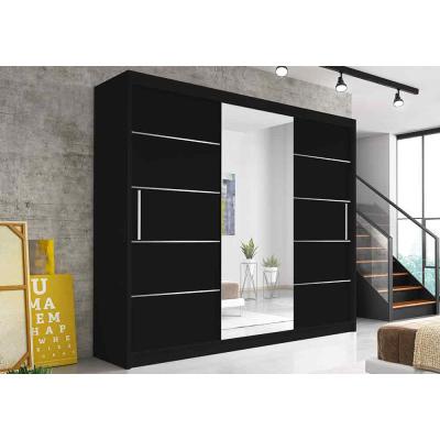Levné Šatní skříně: Moderní šatní škříň Alivia 250 cm, černá, černé se zrcadlem