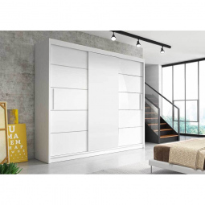 Levné Šatní skříně: Moderní šatní skříň Alivia II 250 cm, bílá