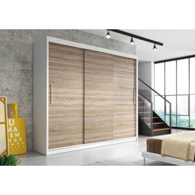 Levné Šatní skříně: Moderní šatní skříň Alivia II 250 cm, bílý korpus, dub sonoma
