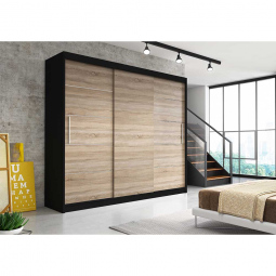 Levné Šatní skříně: Moderní šatní skříň Alivia II 250 cm, černý korpus, dub sonoma