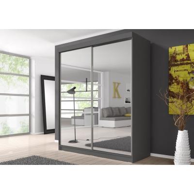 Levné Šatní skříně: Šatní skříň Markéta 20 203 cm se zrcadlem, grafit