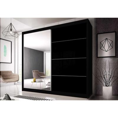 Levné Šatní skříně: Šatní skříň Markéta 31 183 cm, černý korpus, černý pololesk + zrcadlo