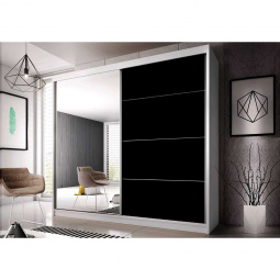 Levné Šatní skříně: Šatní skříň Markéta 31 203 cm, bílý korpus, černý pololesk + zrcadlo