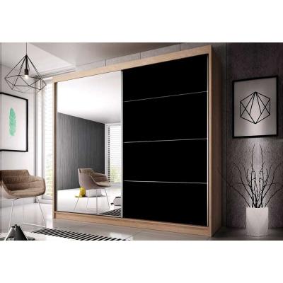 Levné Šatní skříně: Šatní skříň Markéta 31 233 cm, dub sonoma korpus, černý pololesk + zrcadlo