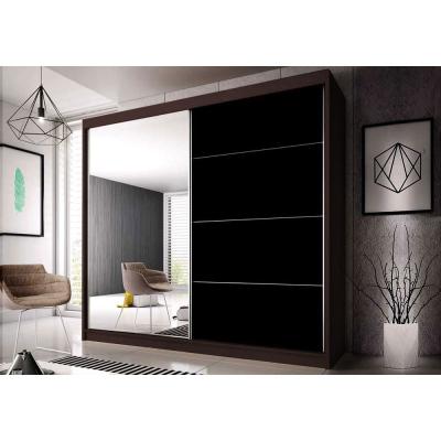 Levné Šatní skříně: Šatní skříň Markéta 31 233 cm, ořech korpus, černý pololesk + zrcadlo