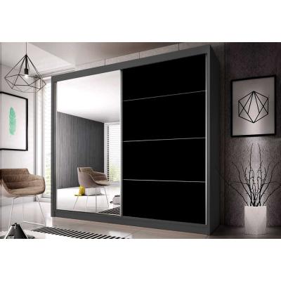 Levné Šatní skříně: Šatní skříň Markéta 31 233 cm, grafit korpus, černý pololesk + zrcadlo