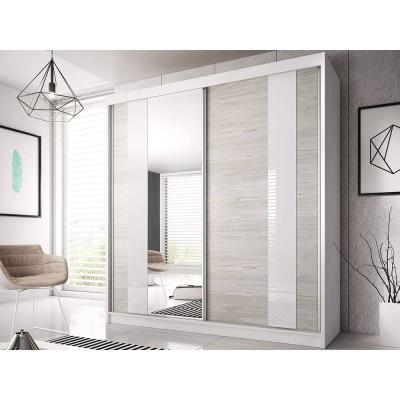 Levné Šatní skříně: Šatní skříň Markéta 32 183 cm, bílý korpus, dub kathult + zrcadlo + bílé sklo