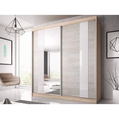 Levné Šatní skříně: Šatní skříň Markéta 32 183 cm, dub sonoma korpus, dub kathult + zrcadlo + bílé sklo