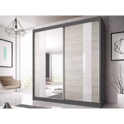 Levné Šatní skříně: Šatní skříň Markéta 32 183 cm, grafit korpus, dub kathult + zrcadlo + bílé sklo