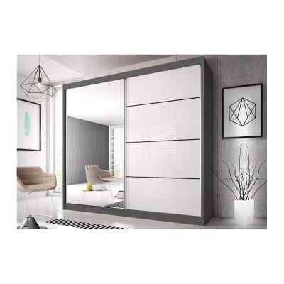Levné Šatní skříně: Šatní skříň Markéta 35 203 cm, grafit korpus, bílý pololesk + zrcadlo