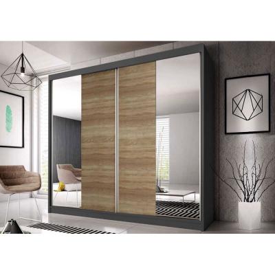 Levné Šatní skříně: Šatní skříň Markéta 36 233 cm, grafit korpus, dub sonoma + zrcadlo