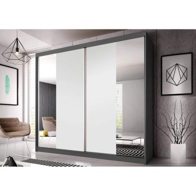 Levné Šatní skříně: Šatní skříň Markéta 38 183 cm, grafit korpus, bílý + zrcadlo