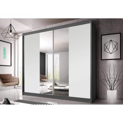 Levné Šatní skříně: Šatní skříň Markéta 38 233 cm, grafit korpus, bílé + zrcadlo