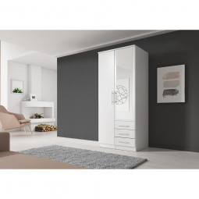 Levné Šatní skříně: Šatní skříň se zrcadlem Skylynn 100 cm, bílá