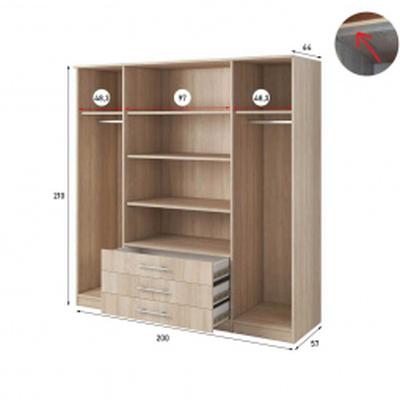 Levné Šatní skříně: Čtyřdveřová šatní skříň se zrcadlem Skylynn 200 cm, dub sonoma