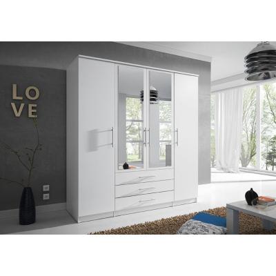 Levné Šatní skříně: Čtyřdveřová šatní skříň se zrcadlem Skylynn 200 cm, bílá