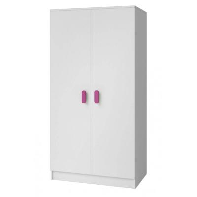 Levné Šatní skříně: Dvoudveřová šatní skříň do dětského pokoje Sven, úchytky - růžová