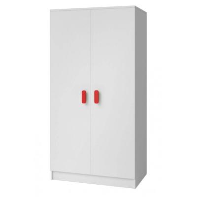Levné Šatní skříně: Dvoudveřová šatní skříň do dětského pokoje Sven, úchytky - červená