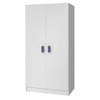 Levné Šatní skříně: Dvoudveřová šatní skříň do dětského pokoje Sven, úchytky - fialová