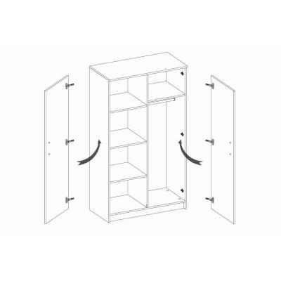 Levné Šatní skříně: Dvoudveřová šatní skříň do dětského pokoje Sven, úchytky - šedá