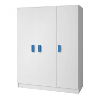 Levné Šatní skříně: Třídveřová šatní skříň do dětského pokoje Sven, úchytky - modrá