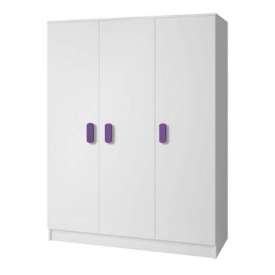 Levné Šatní skříně: Třídveřová šatní skříň do dětského pokoje Sven, úchytky - fialová