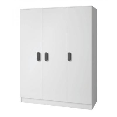 Levné Šatní skříně: Třídveřová šatní skříň do dětského pokoje Sven, úchytky - šedá