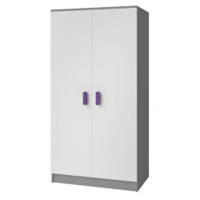 Levné Šatní skříně: Dvoudveřová šedobílá šatní skříň do dětského pokoje Sven, úchytky - fialová