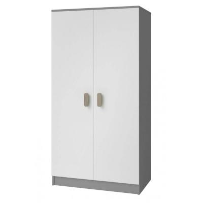 Levné Šatní skříně: Dvoudveřová šedobílá šatní skříň do dětského pokoje Sven, úchytky - dub sonoma