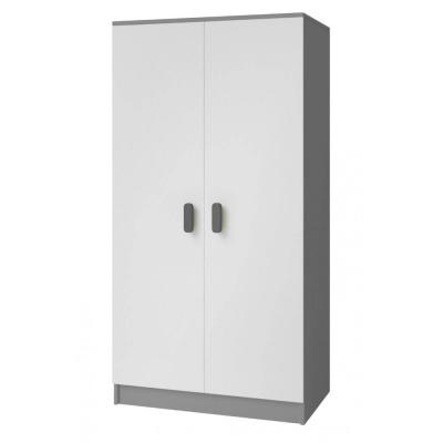 Levné Šatní skříně: Dvoudveřová šedobílá šatní skříň do dětského pokoje Sven, úchytky - šedá