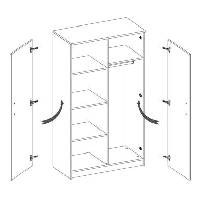 Levné Šatní skříně: Dvoudveřová šedobílá šatní skříň do dětského pokoje Sven, úchytky - bílá