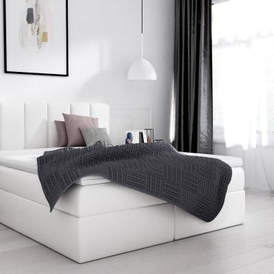 Levné Boxspringové postele: Elegantní manželská postel Sven s úložným prostorem bílá eko kůže 180 x 200