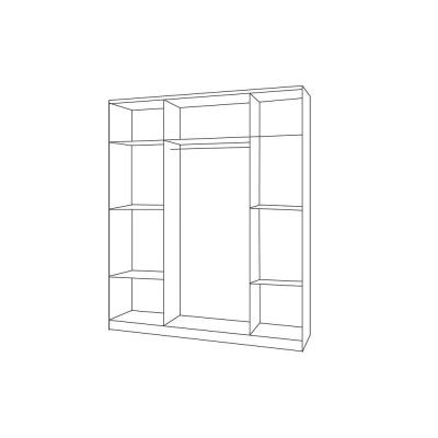 Levné Šatní skříně: Třídveřová šedobílá šatní skříň do dětského pokoje Sven, úchytky - červená