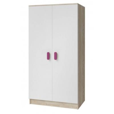 Levné Šatní skříně: Dvoudveřová šatní skříň do dětského pokoje Sven, bílá + dub sonoma, úchytky - růžová