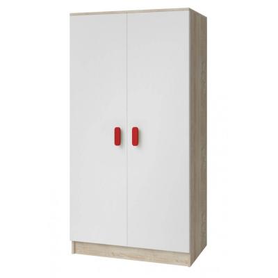 Levné Šatní skříně: Dvoudveřová šatní skříň do dětského pokoje Sven, bílá + dub sonoma, úchytky - červená
