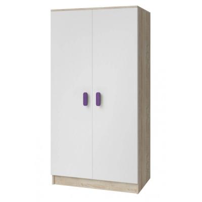 Levné Šatní skříně: Dvoudveřová šatní skříň do dětského pokoje Sven, bílá + dub sonoma, úchytky - fialová
