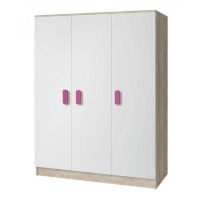 Levné Šatní skříně: Třídveřová šatní skříň do dětského pokoje Sven, bílá + dub sonoma, úchytky - růžová